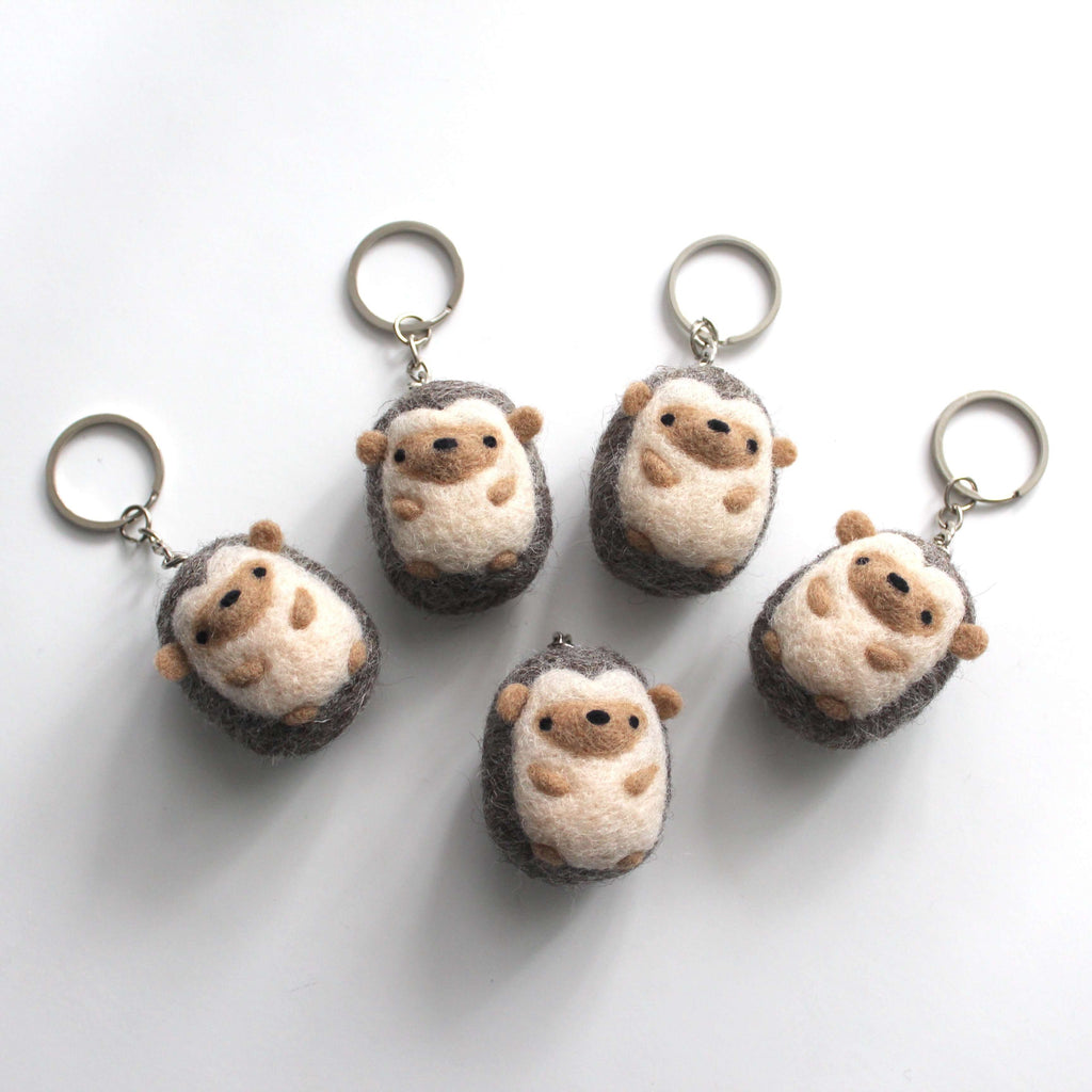 Needle Felted Hedgehog Keychain by Wild Whimsy Woolies
