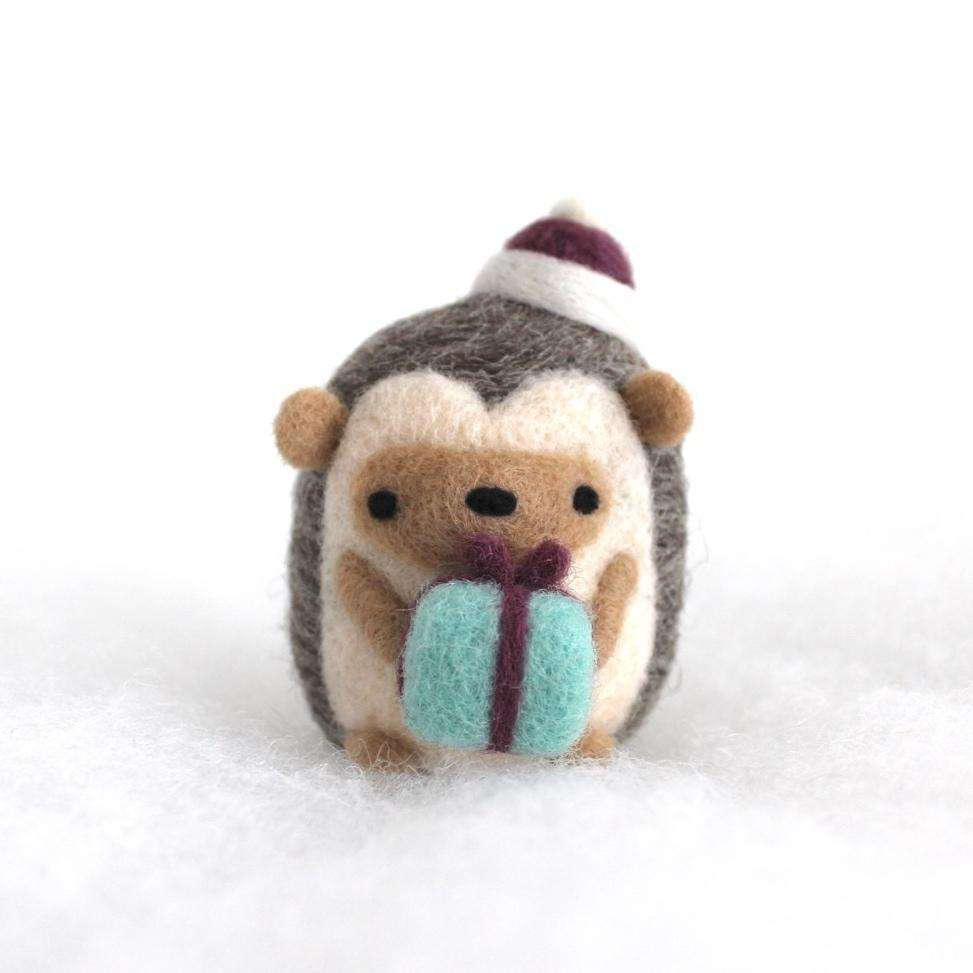 Needle Felted Hedgehog w/ Christmas Present (Purple Ribbon/Hat) by Wild Whimsy Woolies