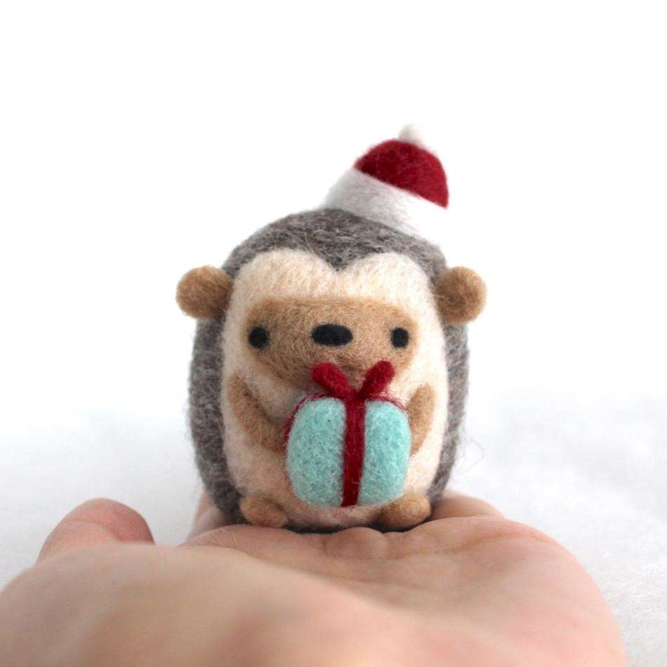 Needle Felted Hedgehog w/ Christmas Present (Red Ribbon/Hat) by Wild Whimsy Woolies