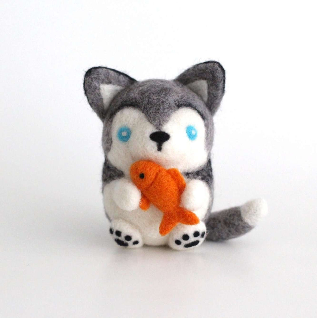 Needle Felted Husky with a Fish by Wild Whimsy Woolies