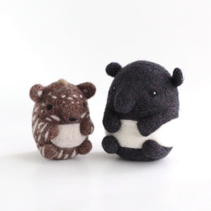 Needle Felted Malayan Tapir Mom and Calf by Wild Whimsy Woolies