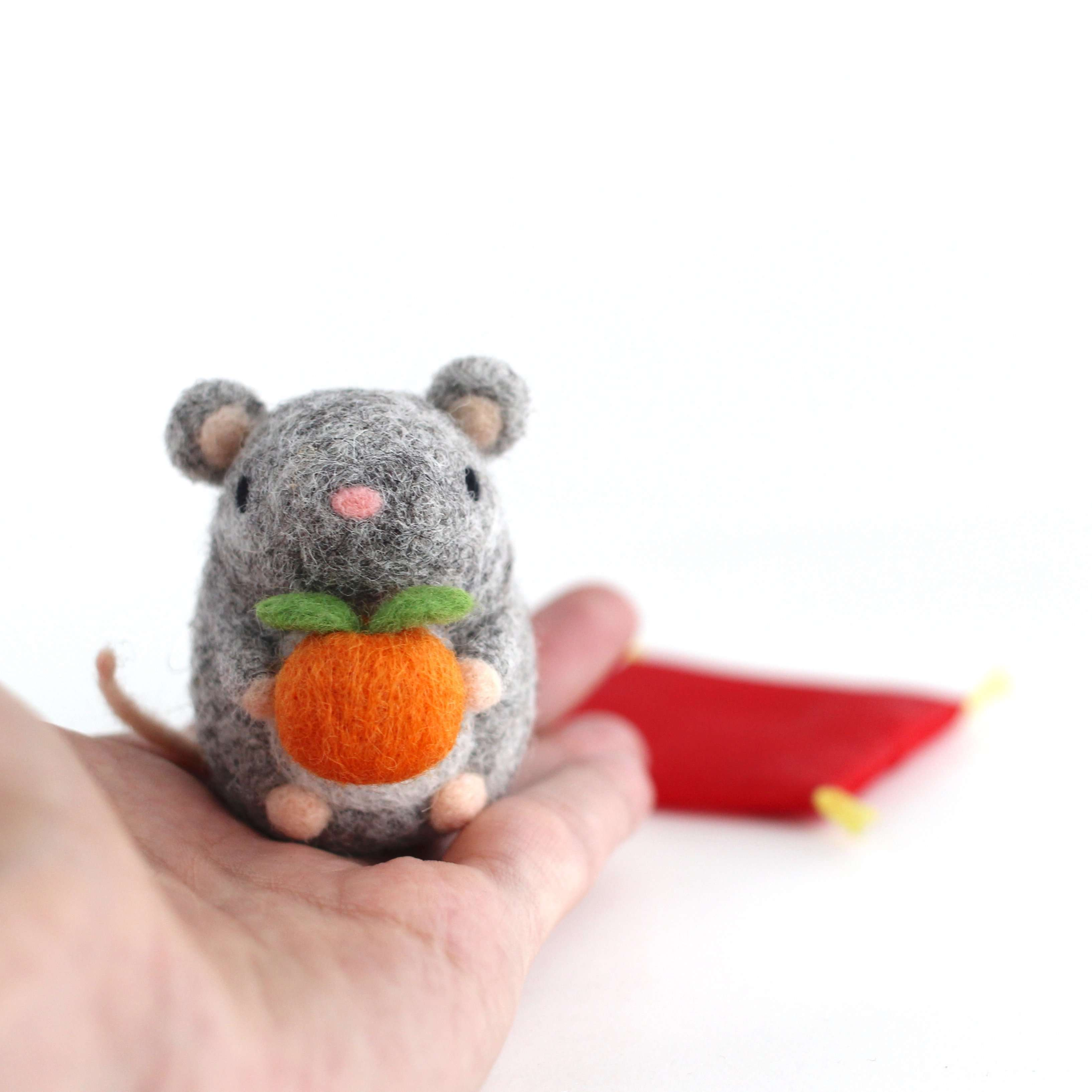 Needle Felted Mouse holding Orange by Wild Whimsy Woolies