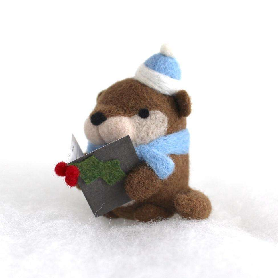 Needle Felted Otter Christmas Caroler (w/ Blue Hat) by Wild Whimsy Woolies