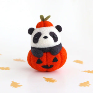 Needle Felted Panda in Jack-o'-Lantern (Bright Orange Variant) by Wild Whimsy Woolies