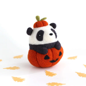 Needle Felted Panda in Jack-o'-Lantern (Burnt Orange Variant) by Wild Whimsy Woolies