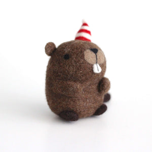 Needle Felted Party Beaver w/ Striped Hat by Wild Whimsy Woolies