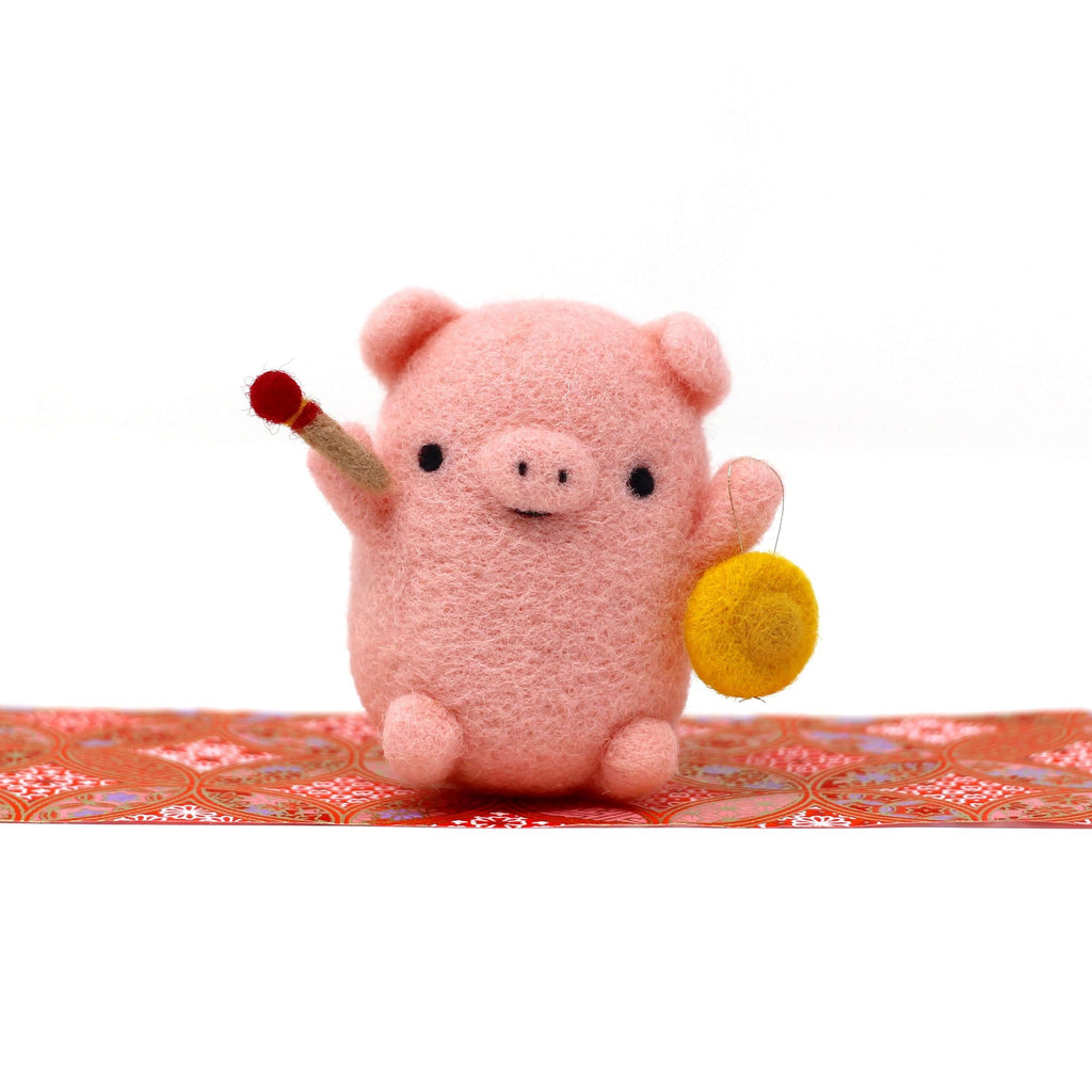 Needle Felted Pig Pink Pig with Gong by Wild Whimsy Woolies