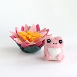Needle Felted Pink Frog with Lotus Flower by Wild Whimsy Woolies