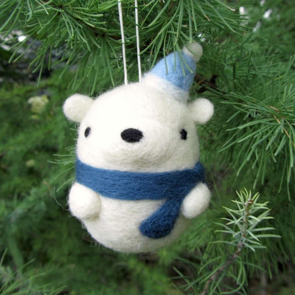 Needle Felted Polar Bear Ornament by Wild Whimsy Woolies