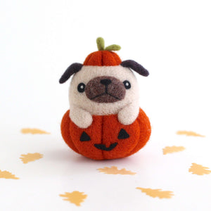Needle Felted Pug in Jack-o'-Lantern by Wild Whimsy Woolies