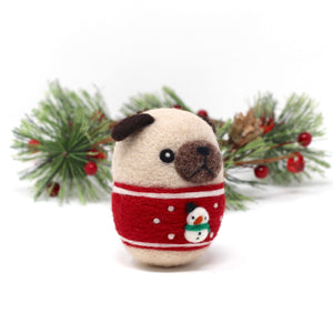 Needle Felted Pug in Red Snowman Christmas Sweater by Wild Whimsy Woolies