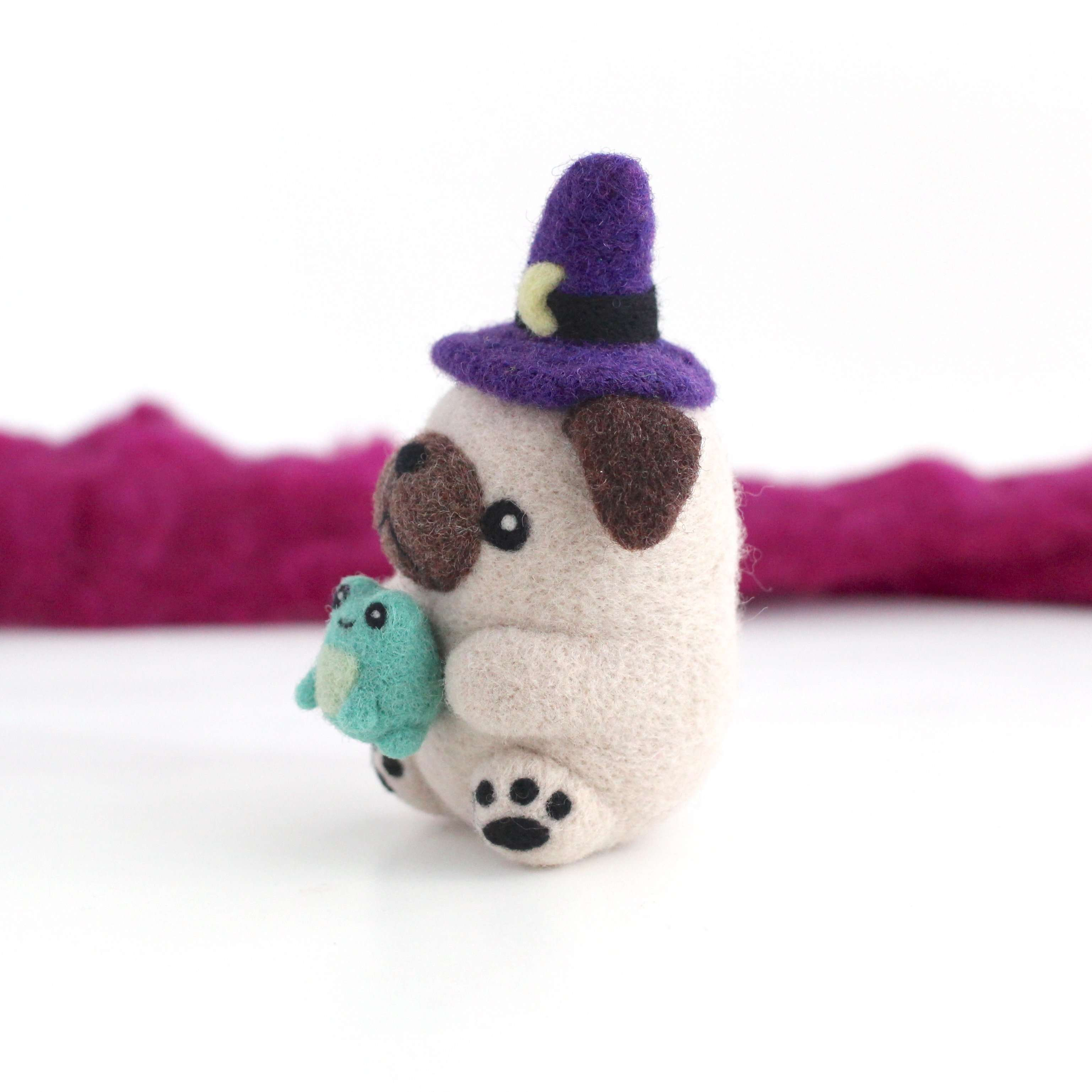 Needle Felted Pug Witch with Toad Familiar by Wild Whimsy Woolies