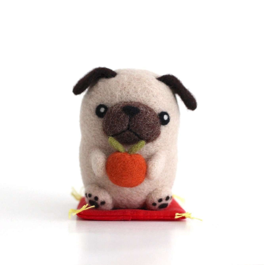 Needle Felted Pug with an Orange by Wild Whimsy Woolies