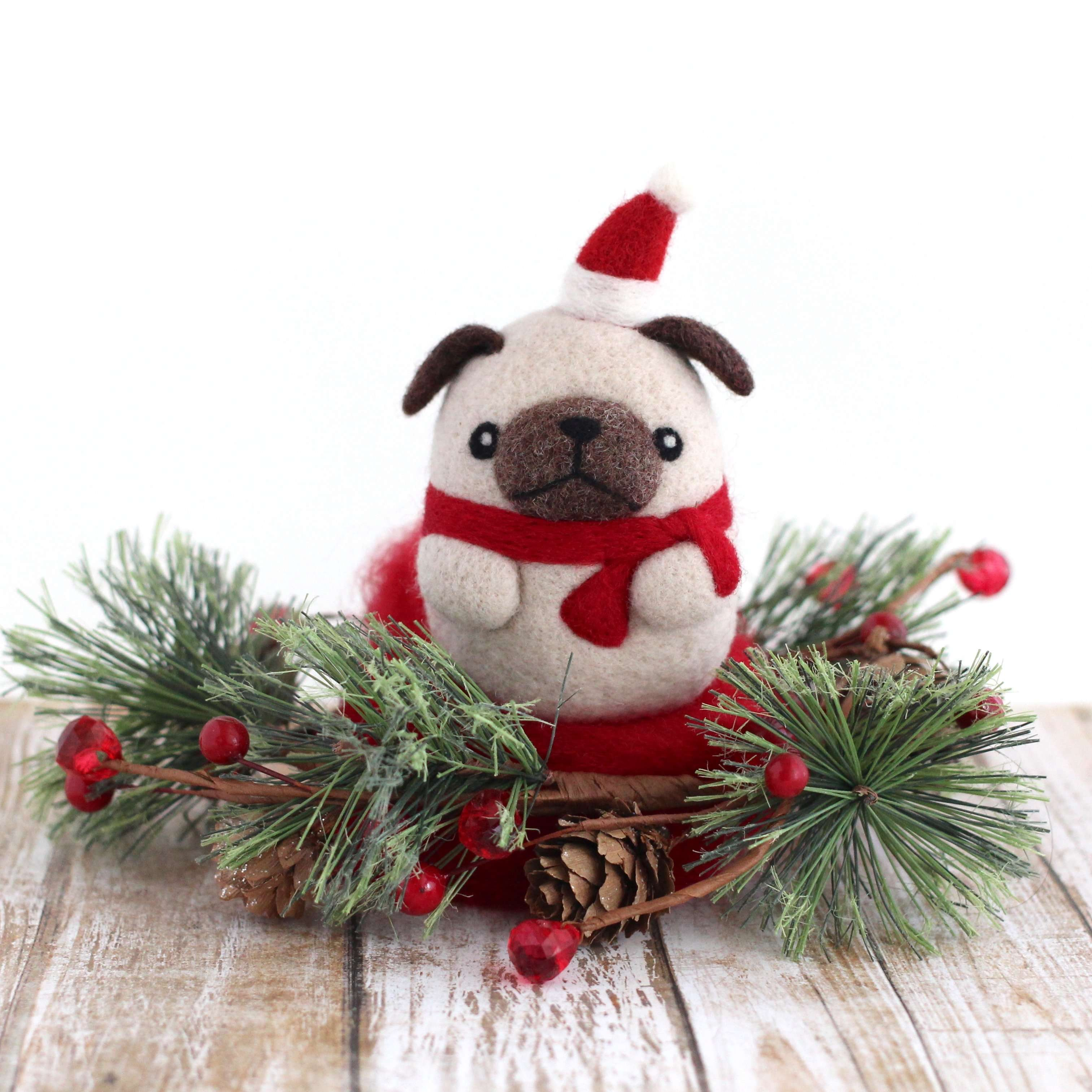 Needle Felted Pug with Santa Hat by Wild Whimsy Woolies