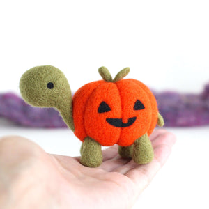 Needle Felted Pumpkin Turtle by Wild Whimsy Woolies