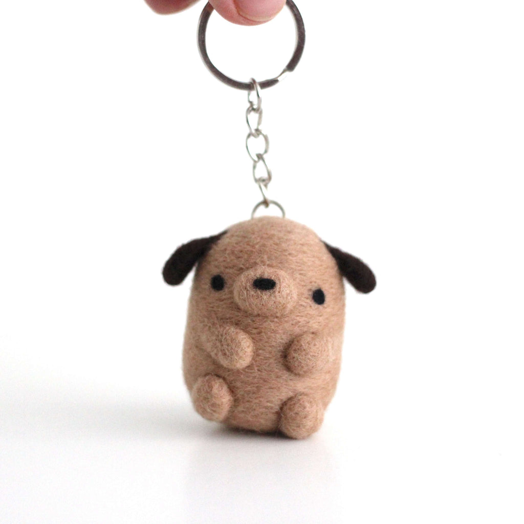 Needle Felted Puppy Keychain by Wild Whimsy Woolies