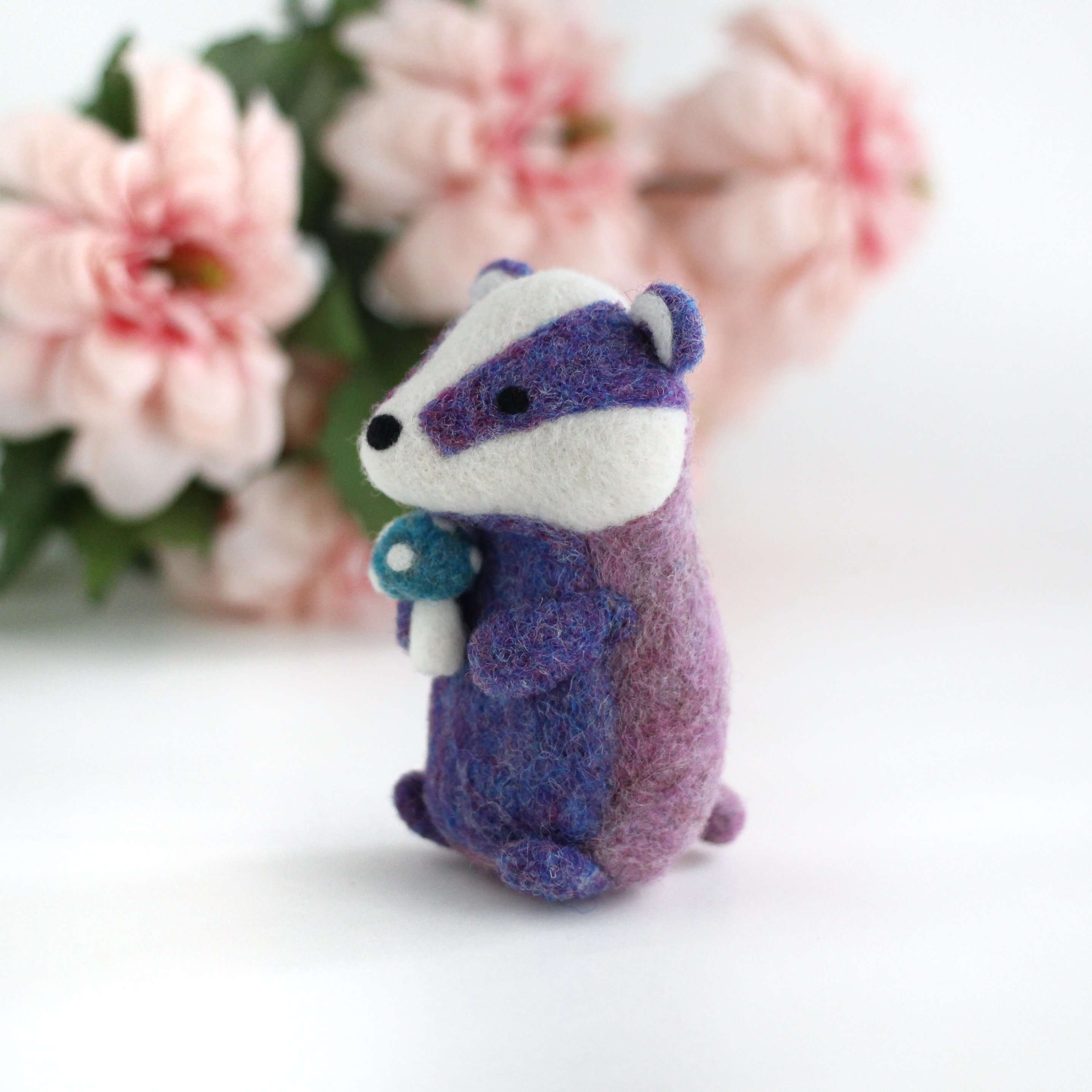 Needle Felted Purple Badger with Magical Mushroom by Wild Whimsy Woolies