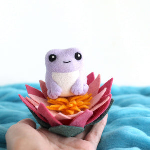 Needle Felted Purple Frog with Lotus Flower by Wild Whimsy Woolies