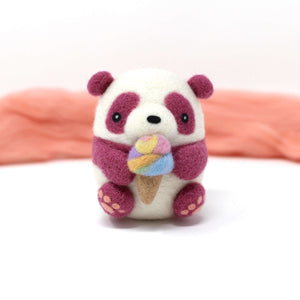 Needle Felted Purple Panda holding Ice Cream (Rainbow) by Wild Whimsy Woolies
