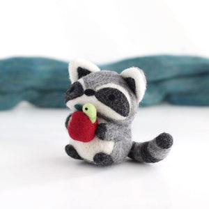 Needle Felted Raccoon holding Apple w/ Worm by Wild Whimsy Woolies
