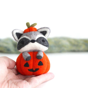 Needle Felted Raccoon in Jack-o'-Lantern by Wild Whimsy Woolies
