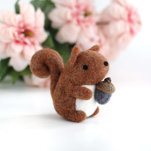 Needle Felted Red-Orange Squirrel with Magical Acorn by Wild Whimsy Woolies