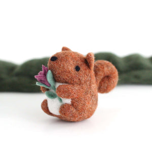 Needle Felted Red Squirrel holding a Flower by Wild Whimsy Woolies