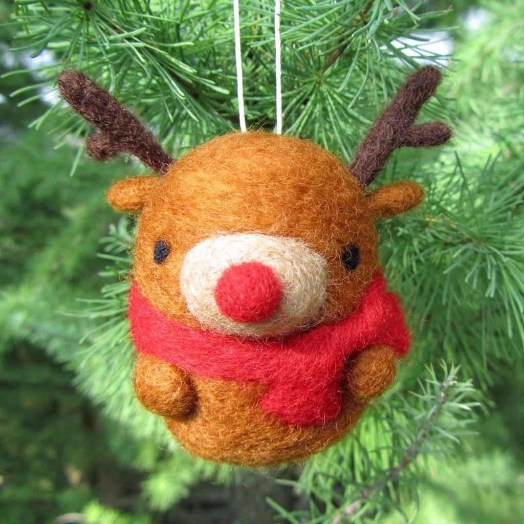 Needle Felted Reindeer Ornament by Wild Whimsy Woolies