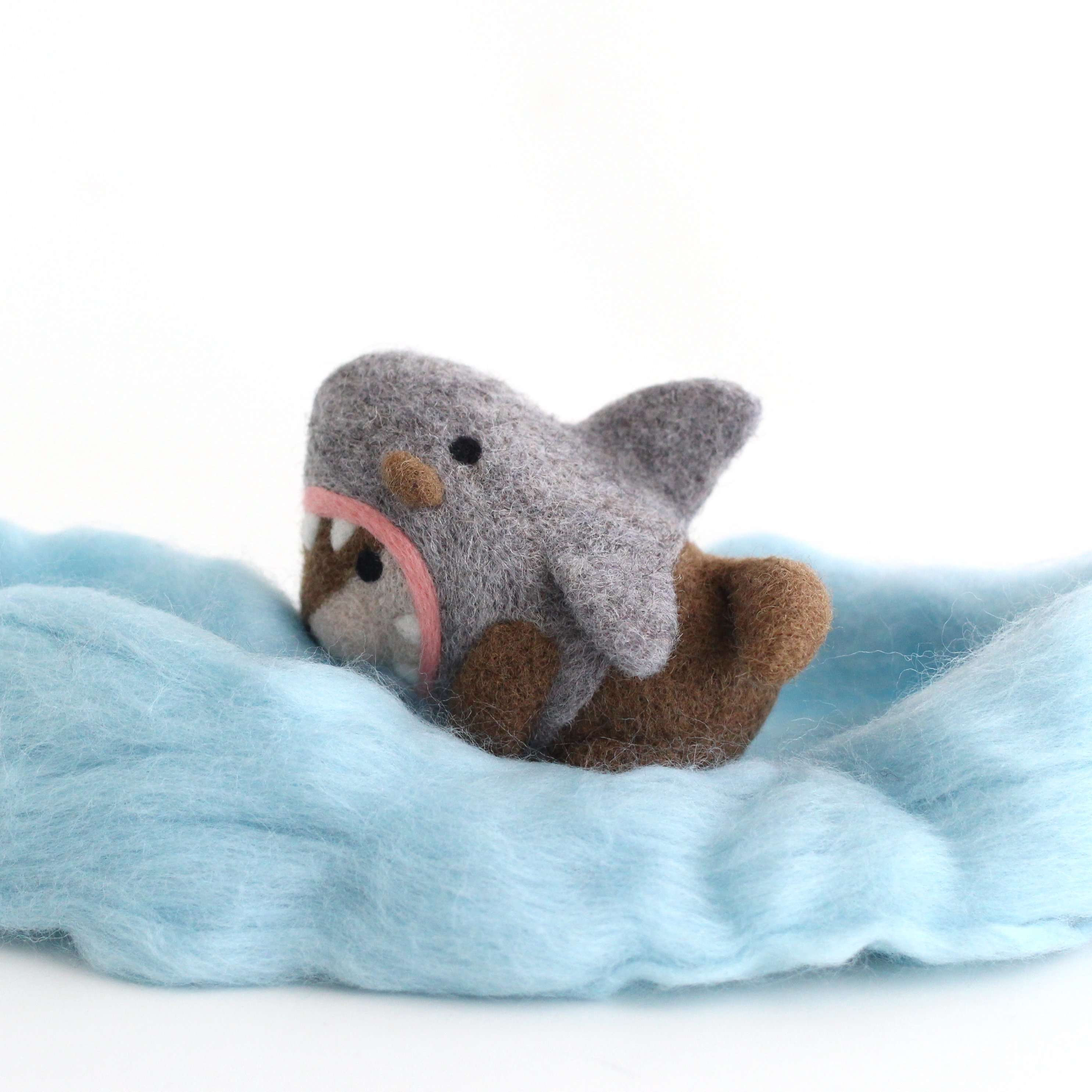 Needle Felted River Otter in a Shark Costume by Wild Whimsy Woolies