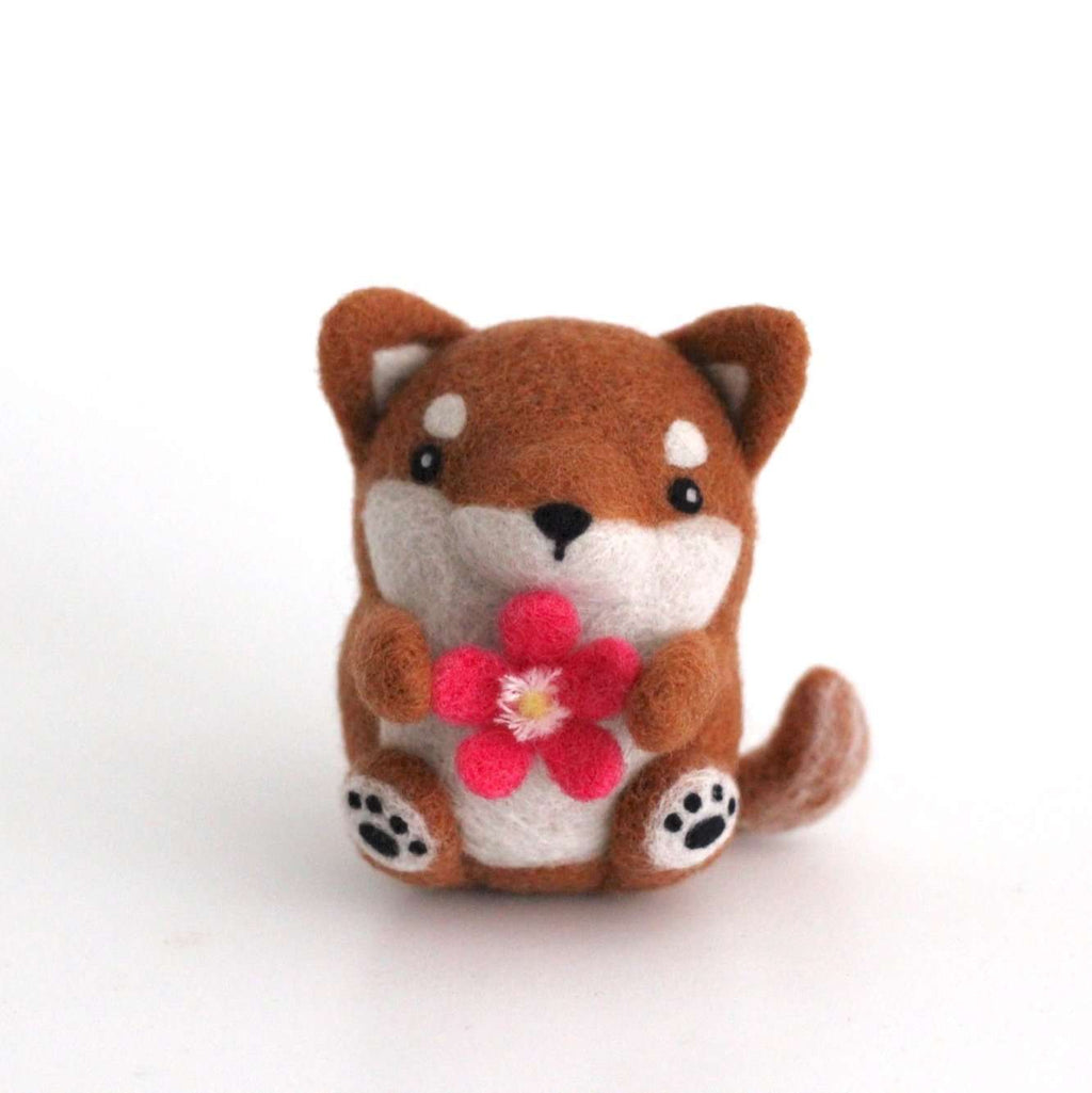 Needle Felted Shiba Inu with a Plum Blossom by Wild Whimsy Woolies