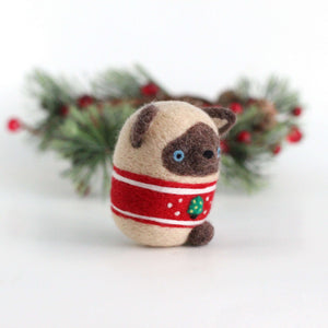 Needle Felted Siamese Cat in Christmas Tree Sweater by Wild Whimsy Woolies