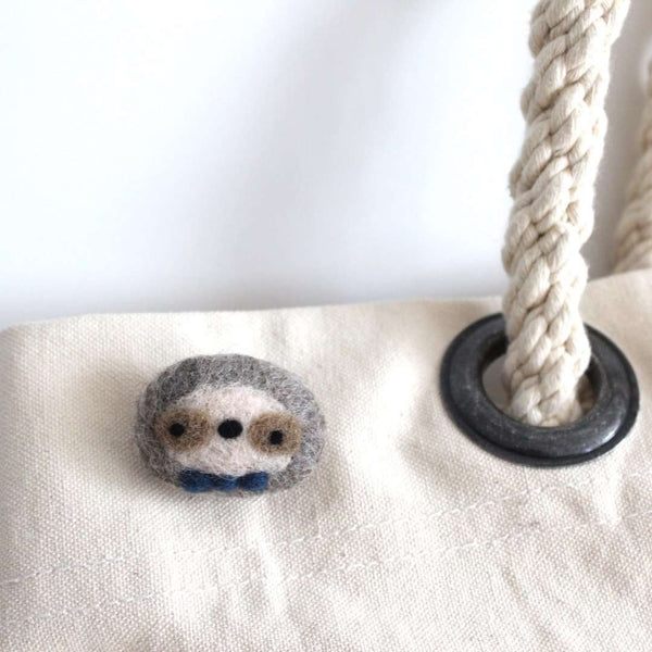 Needle Felted Sloth Brooch by Wild Whimsy Woolies