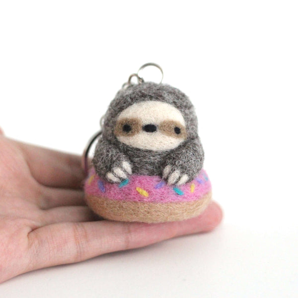 Needle Felted Sloth in a Donut Floatie Keychain (Made-to-Order) by Wild Whimsy Woolies