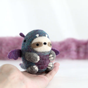 Needle Felted Sloth in Dragon Costume by Wild Whimsy Woolies