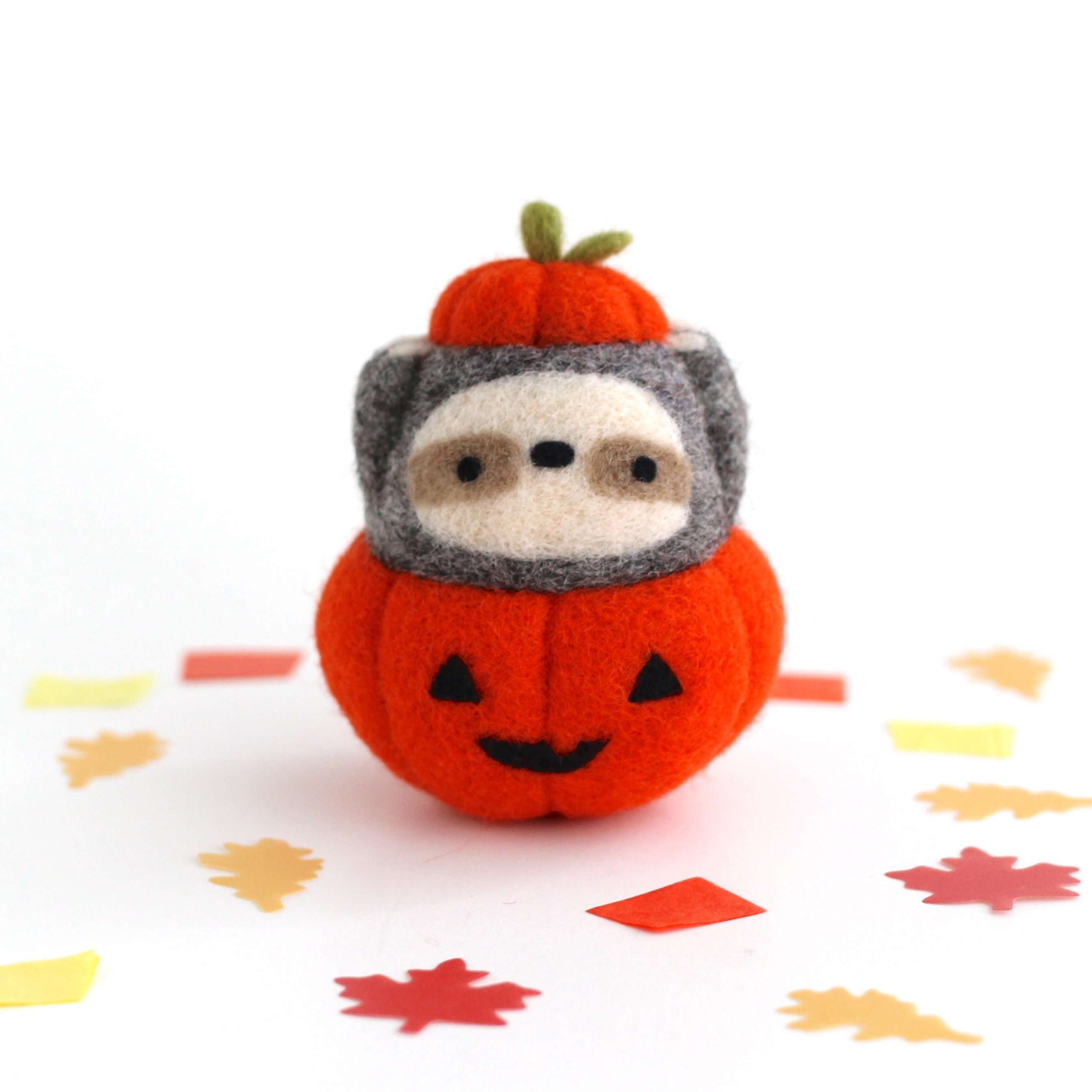 Needle Felted Sloth in Jack-o'-Lantern (Bright Orange Variant) by Wild Whimsy Woolies