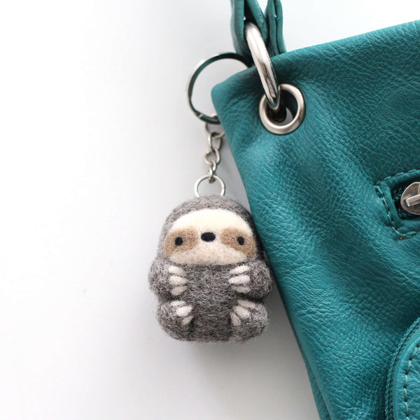 Needle Felted Sloth Keychain by Wild Whimsy Woolies