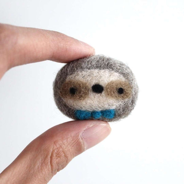 Needle Felted Sloth Magnet by Wild Whimsy Woolies