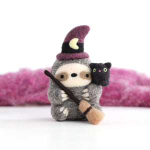 Needle Felted Sloth Witch with Kitty Familiar by Wild Whimsy Woolies