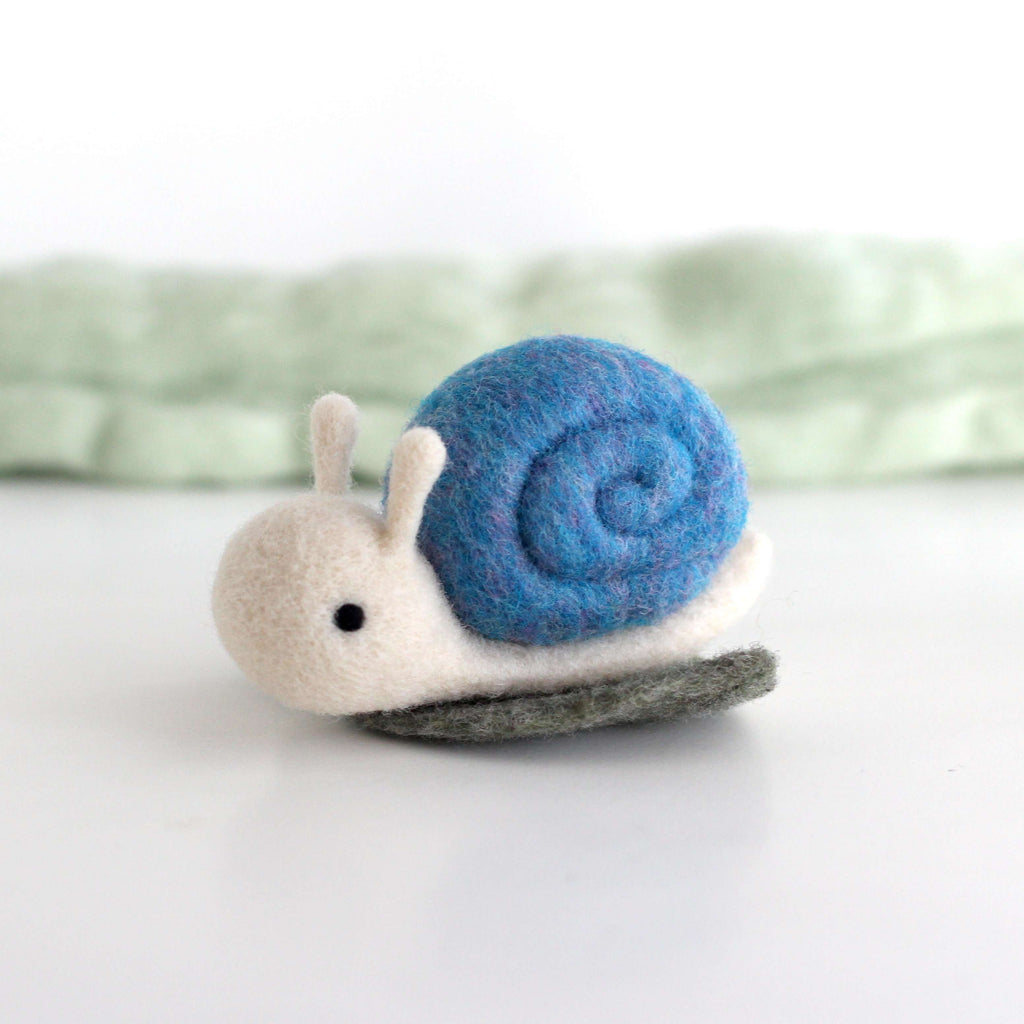Needle Felted Snail on a Leaf (Blue) by Wild Whimsy Woolies