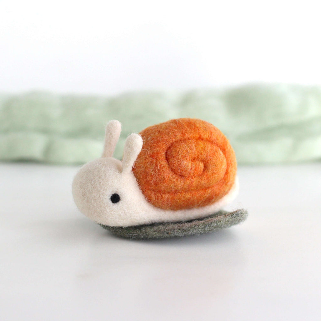 Needle Felted Snail on a Leaf (Orange) by Wild Whimsy Woolies