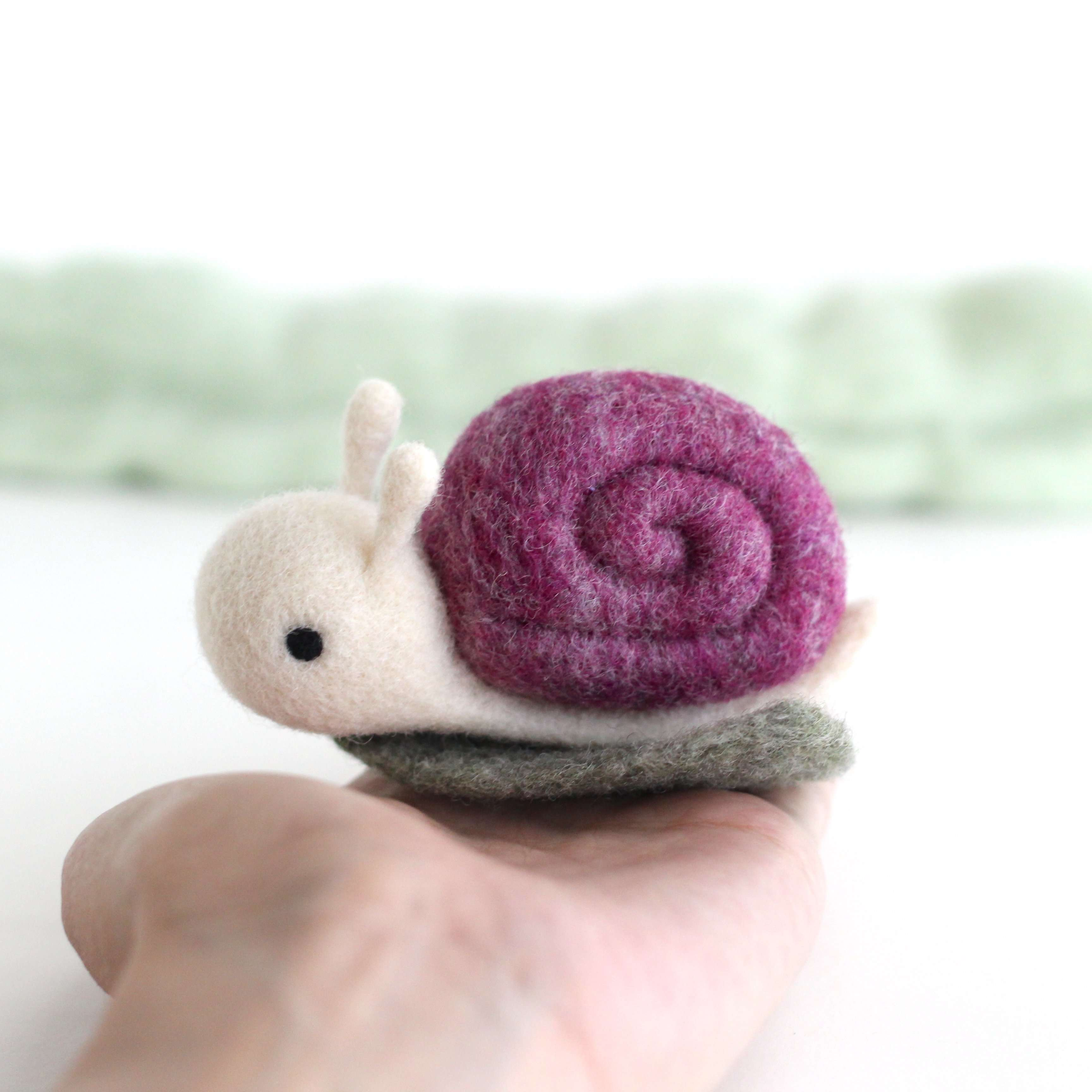 Needle Felted Snail on a Leaf (Purple) by Wild Whimsy Woolies