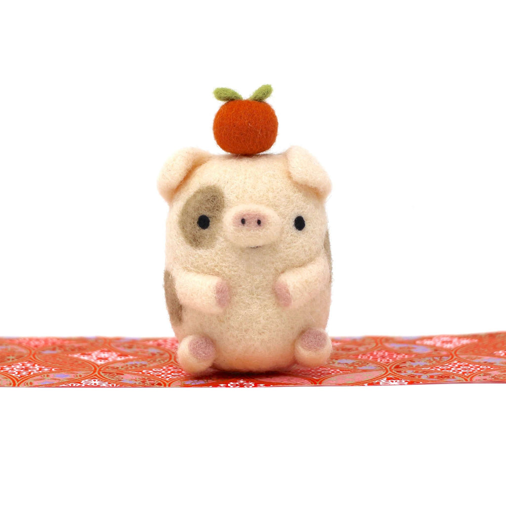Needle Felted Spotted Pig with Orange by Wild Whimsy Woolies