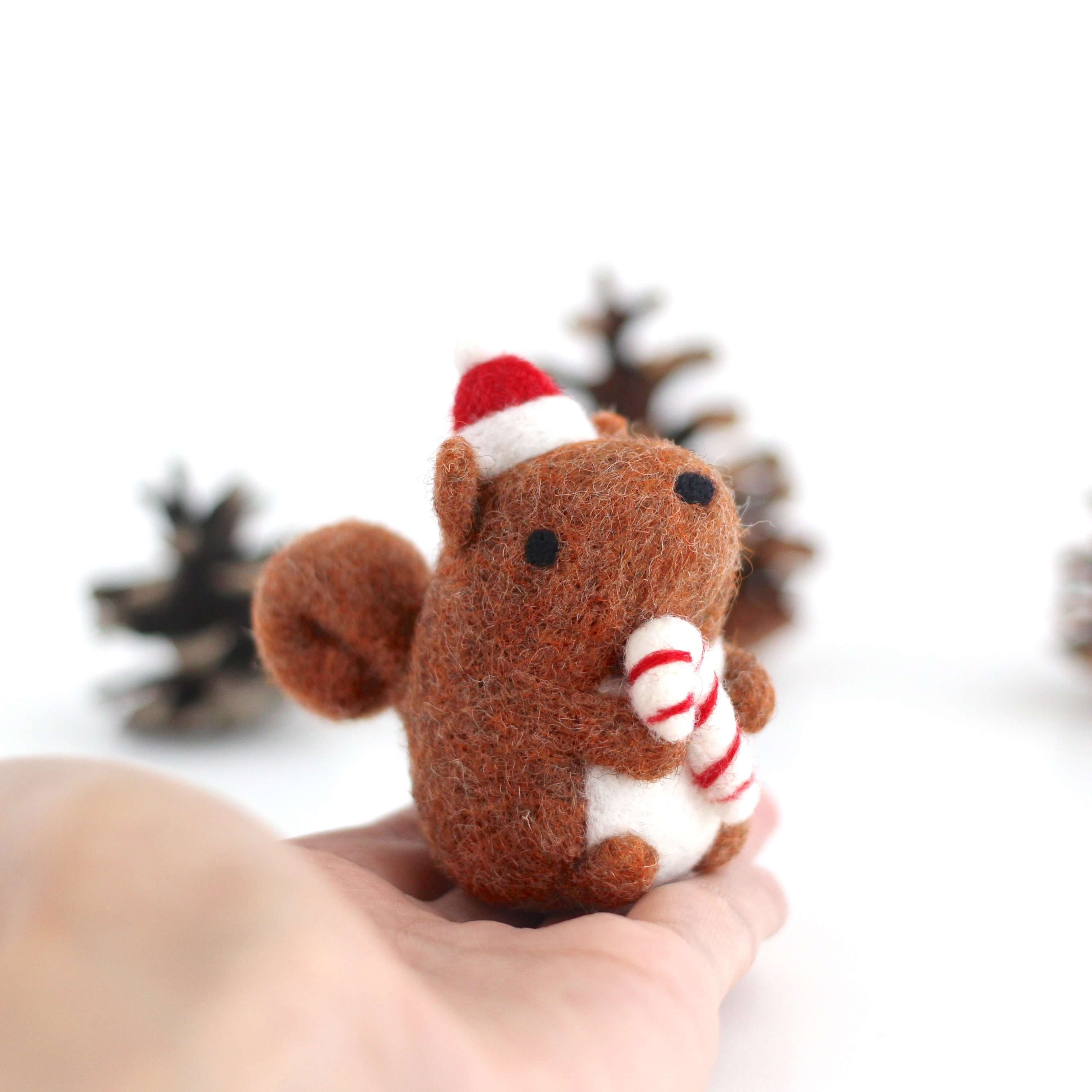 Needle Felted Squirrel Holding Candy Cane by Wild Whimsy Woolies
