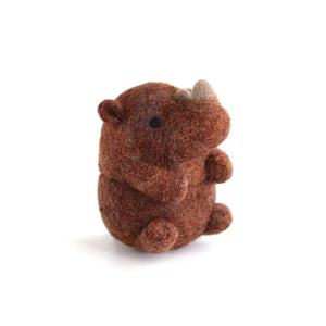 Needle Felted Sumatran Rhino by Wild Whimsy Woolies