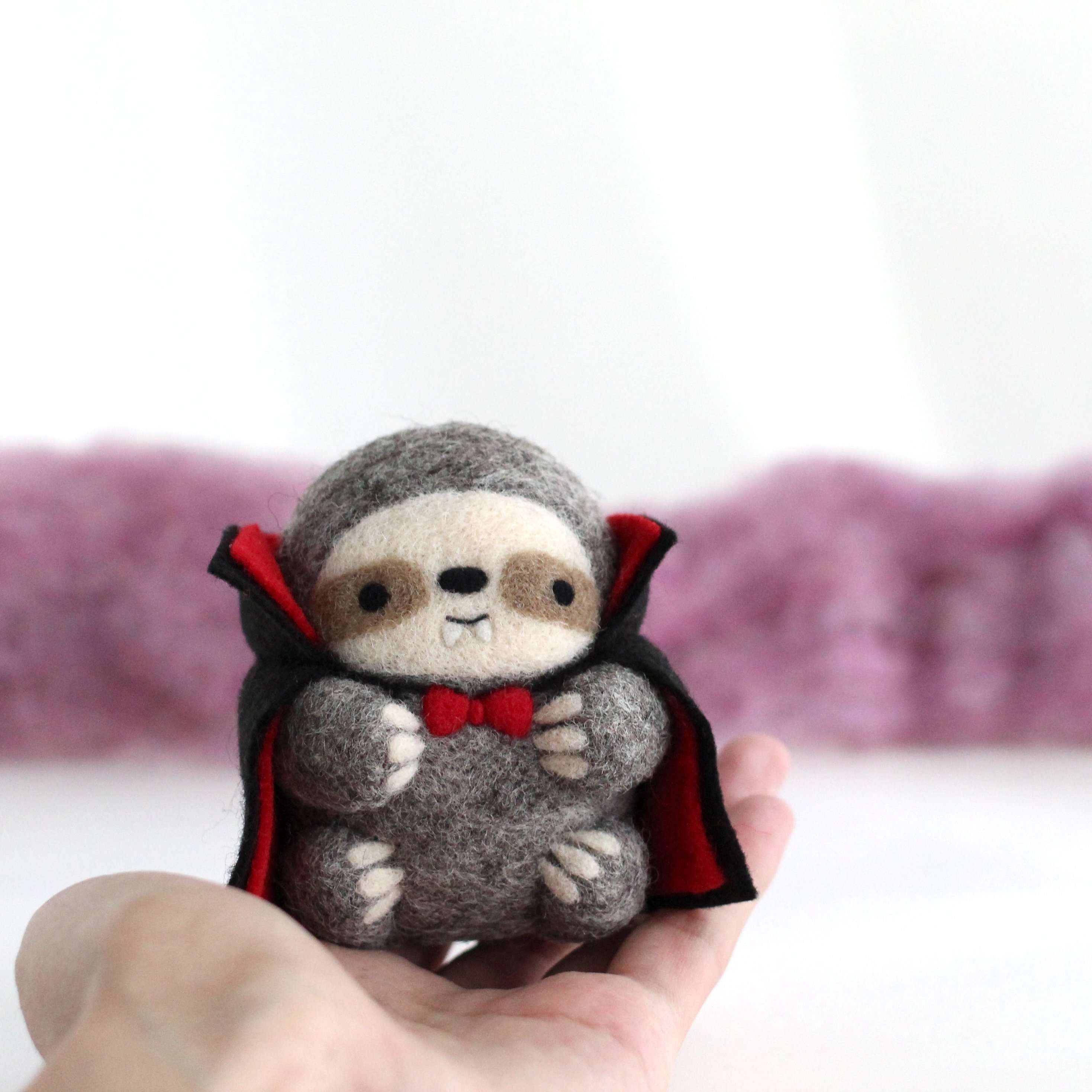 Needle Felted Vampire Sloth by Wild Whimsy Woolies