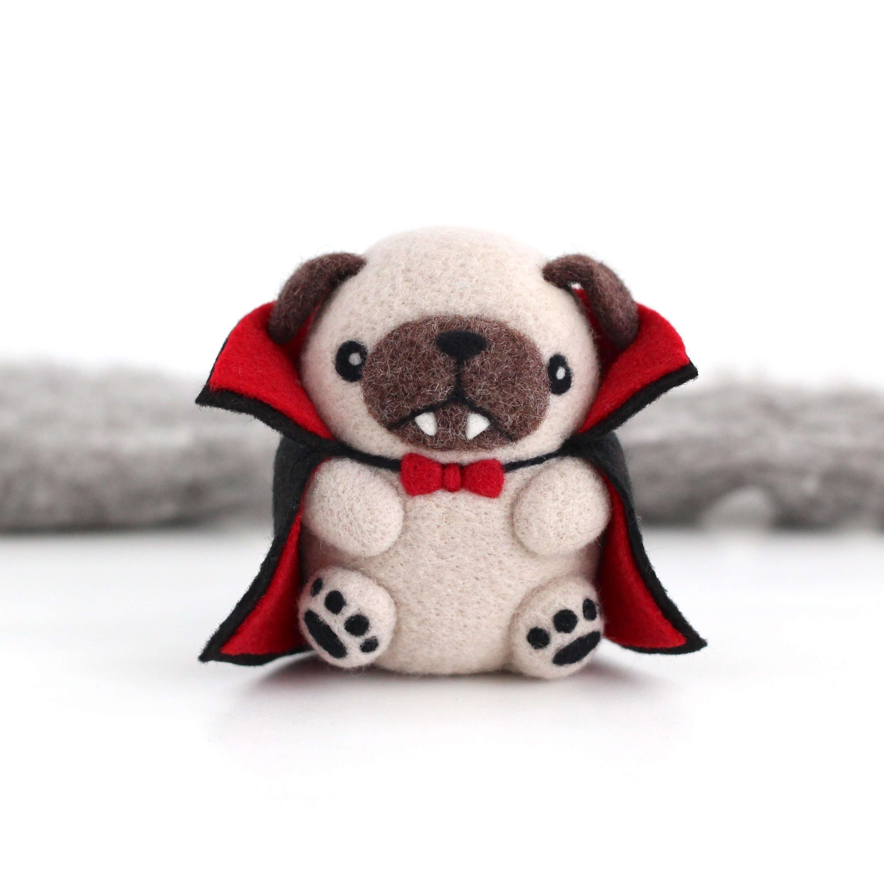 Needle Felted Vampug, the Vampire Pug by Wild Whimsy Woolies