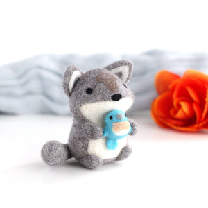 Needle Felted Wolf holding Bluebird by Wild Whimsy Woolies