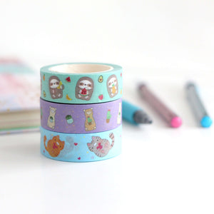 Set of 3 Washi Tapes: Alpacas, Cats and Sloths by Wild Whimsy Woolies