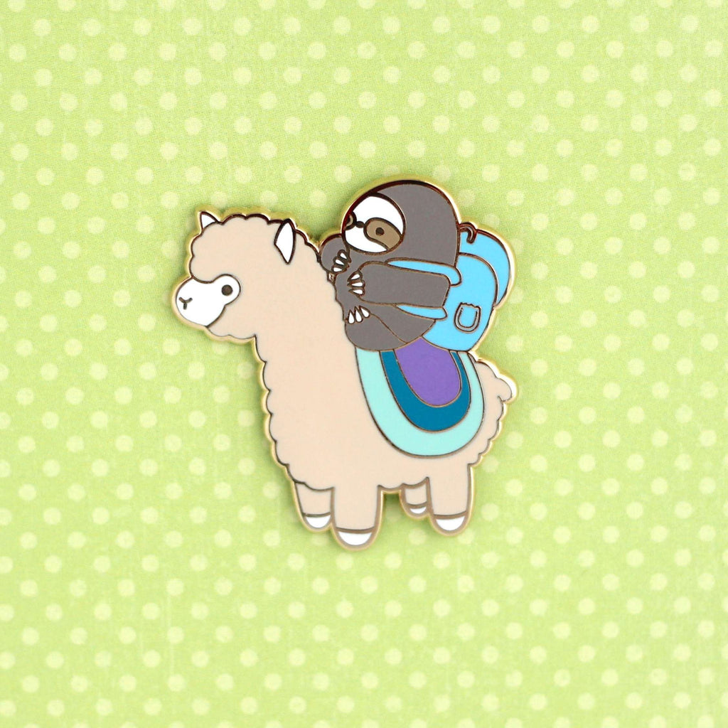 Sloth and Alpaca Adventurer Enamel Pin (Gold) by Wild Whimsy Woolies