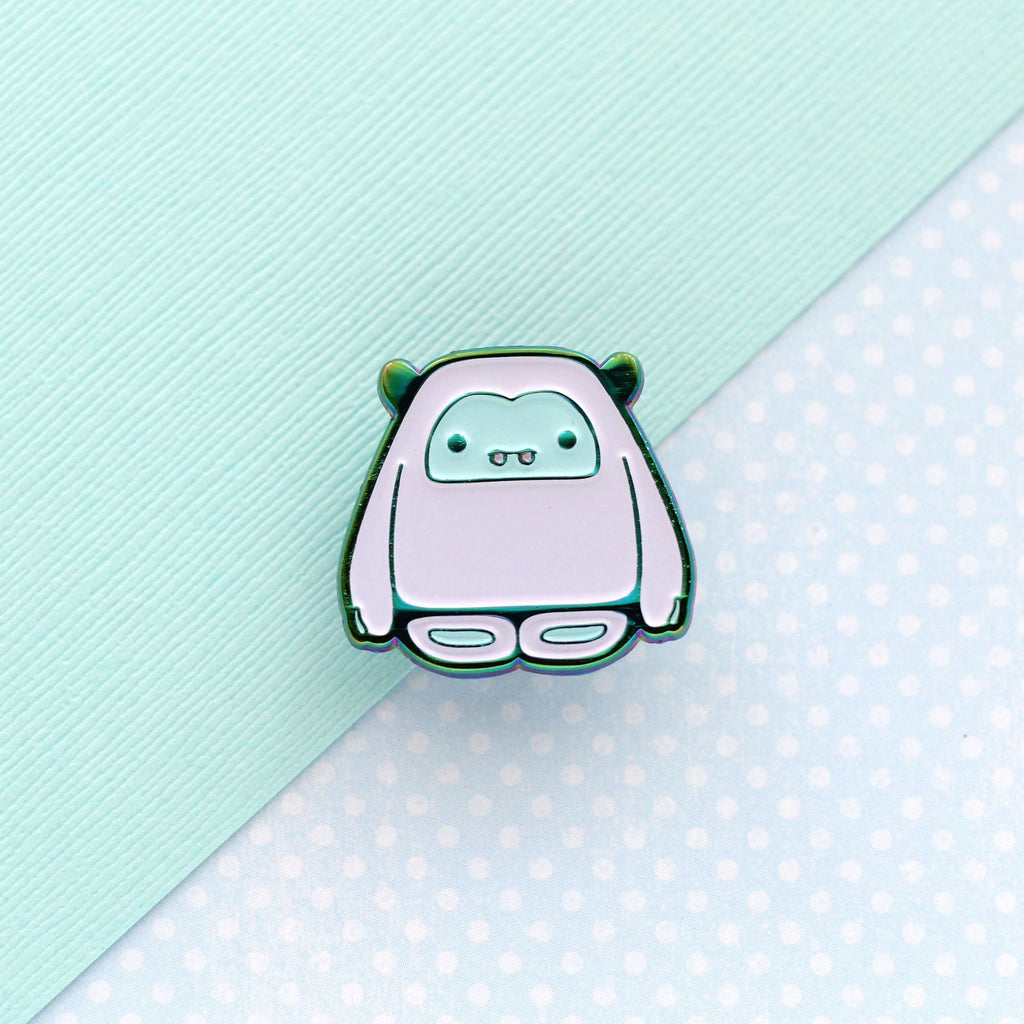 Yeti Enamel Pin (Rainbow Metal/Blue Variant) by Wild Whimsy Woolies